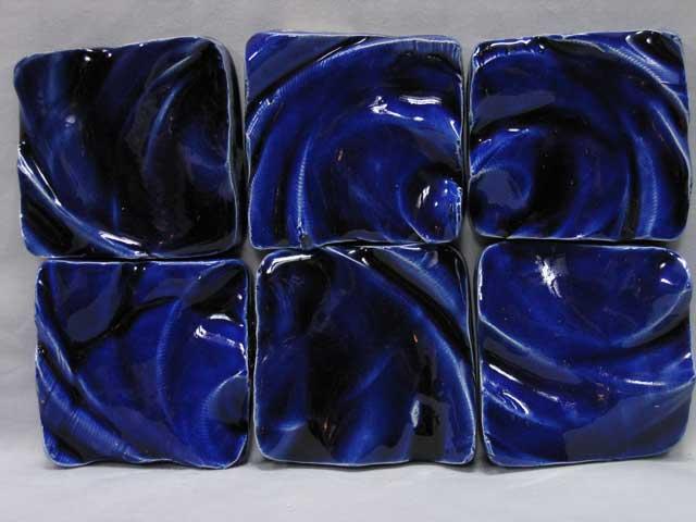 Handmade clay tiles cut surface