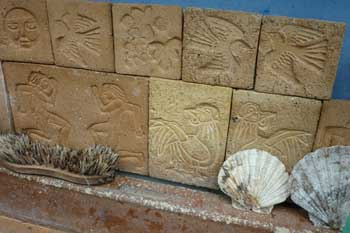 Stamped Unglazed Tiles