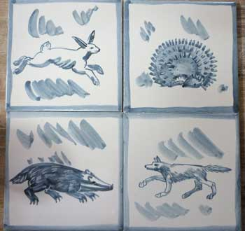 Traditional blue and white animal tiles