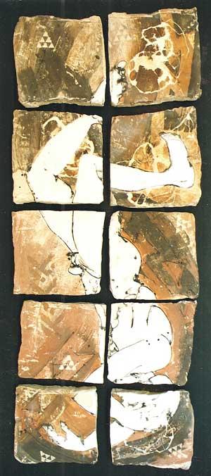 Falling man ceramic panel