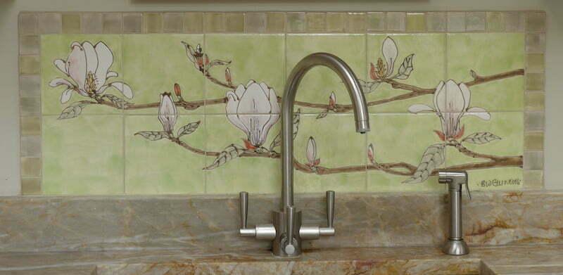 Magnolia kitchen tile panel