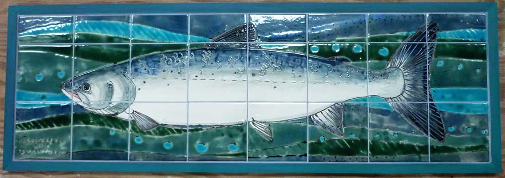 Salmon tile panel , framed.