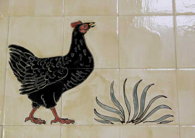 Bantam tiles Aga panel detail