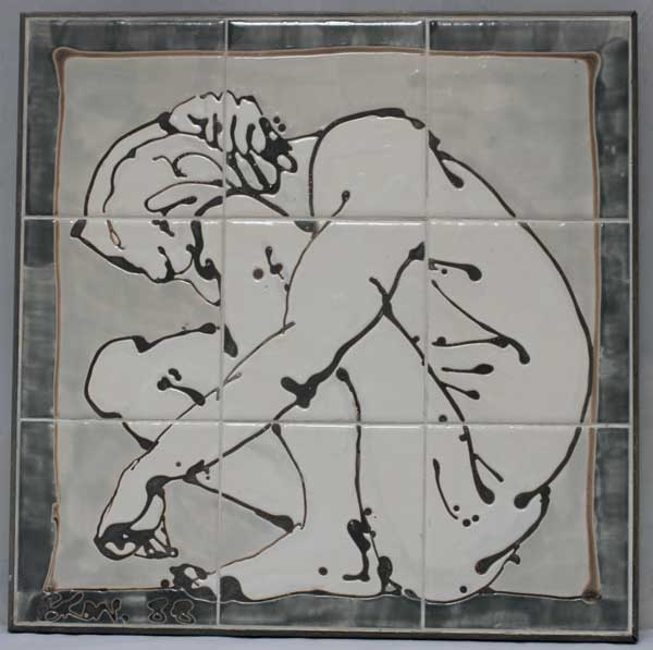 crouched man tile panel
