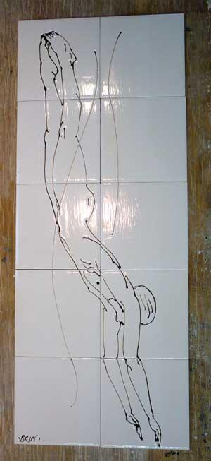 Diver- line drawn tile panel.