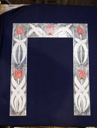 'Art nouveaux' Fireplace surround- tulip tiles