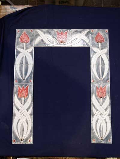 'Art nouveaux' Fireplace surround- tulip tiles