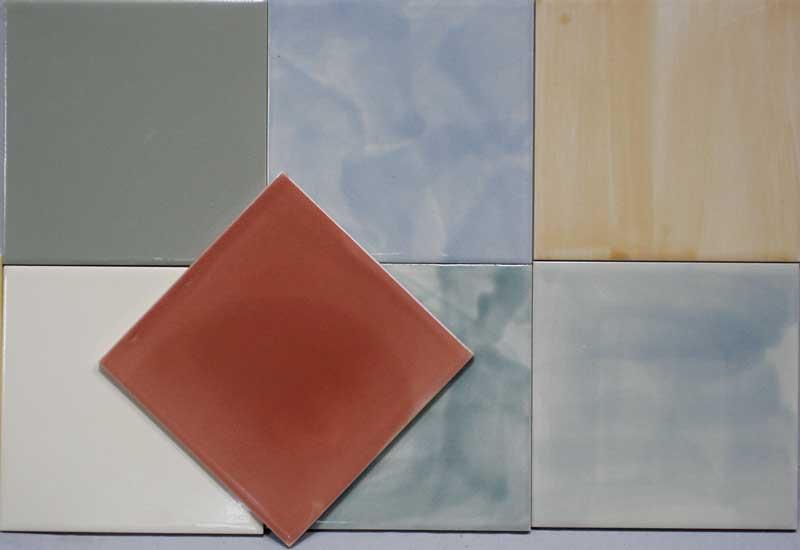 plain hand glazed tiles