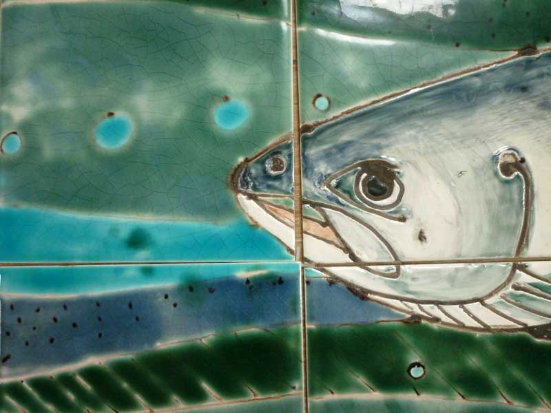 Salmon tile panel . head of salmon