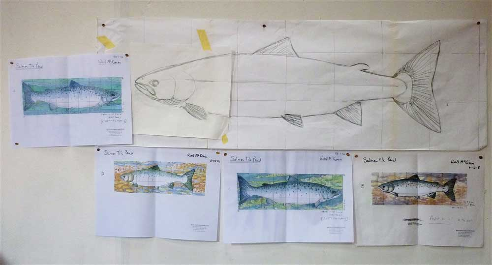 Salmon tiles- Scale and full sized drawings.