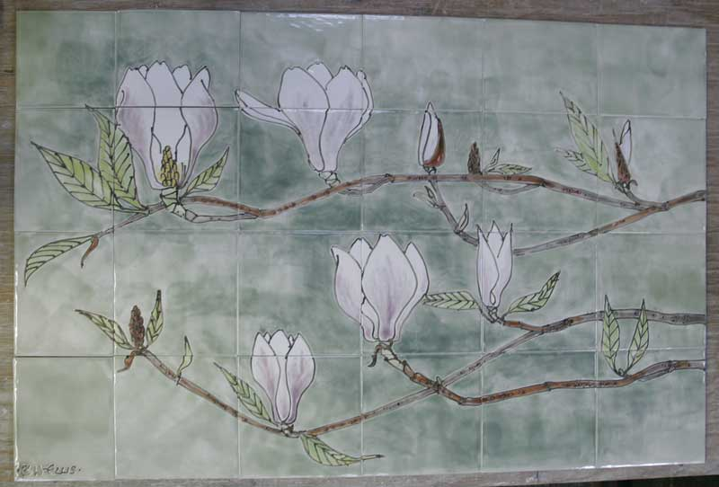 magnolia hob tile panel