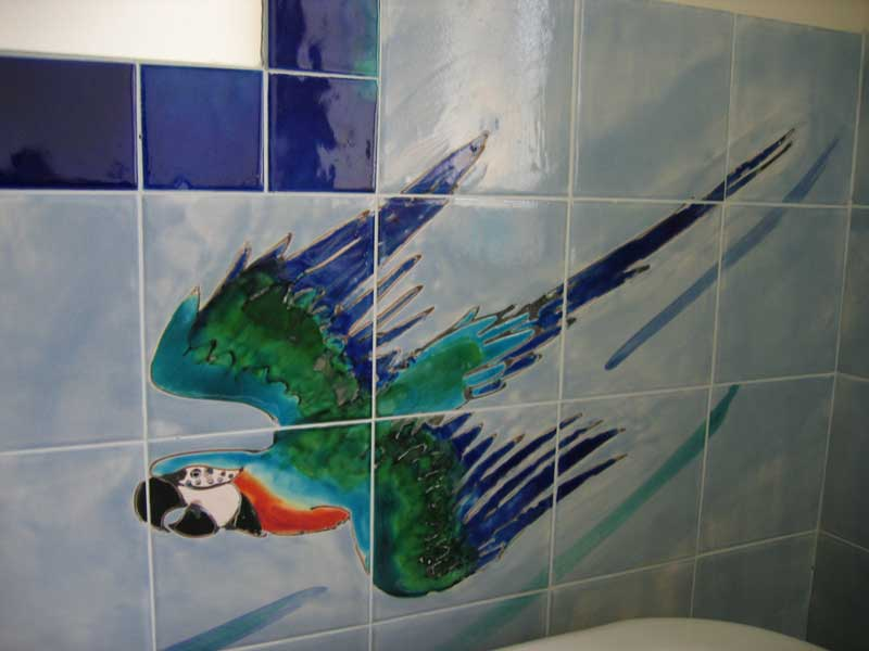 parrots bathroom tiles detail