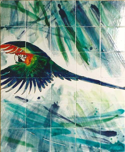 parrots tile panel .