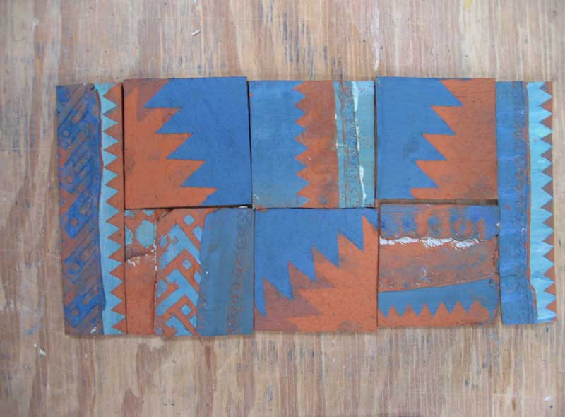 unglazed handmade tiles.