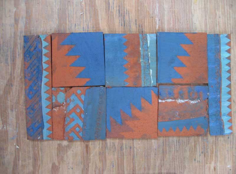 unglazed handmade tiles.