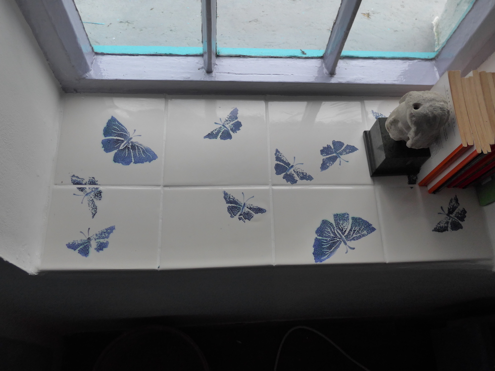 butterfly tiles windowsill tiles