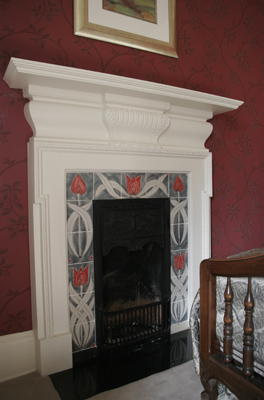 Art nouveau style fireplace tiles