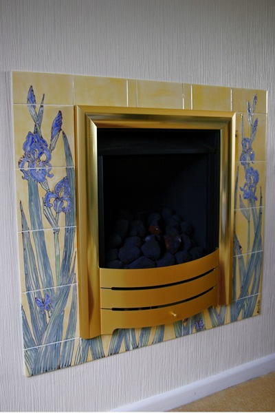 Iris tiled fireplace