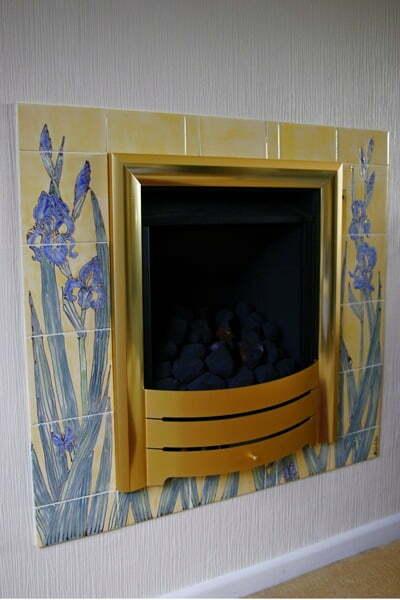 Iris tiled fireplace