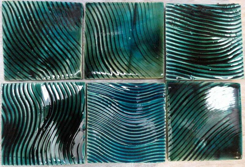 green turquoise handmade tiles