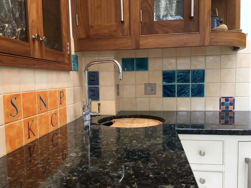 Handmade tiles for domestic bar area