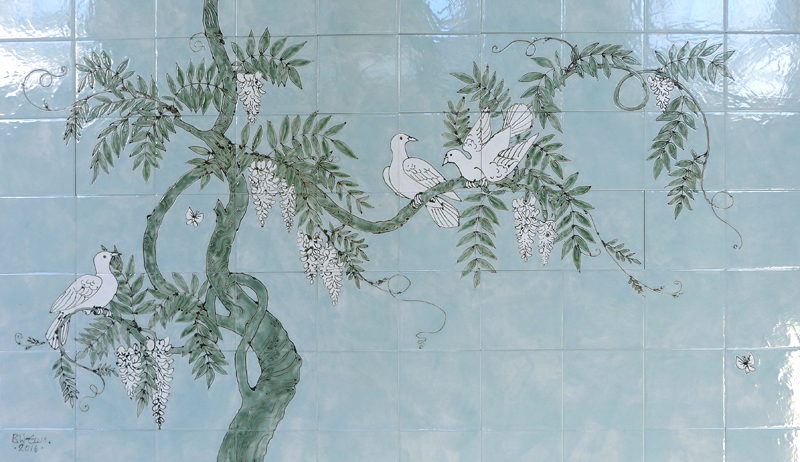 Wysteria and doves Aga tile panel