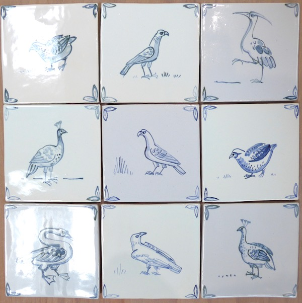 Traditional handmade blue and white tiles