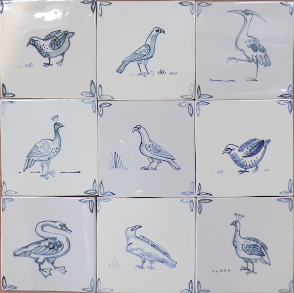 Traditional blue and white tiles- small birds.