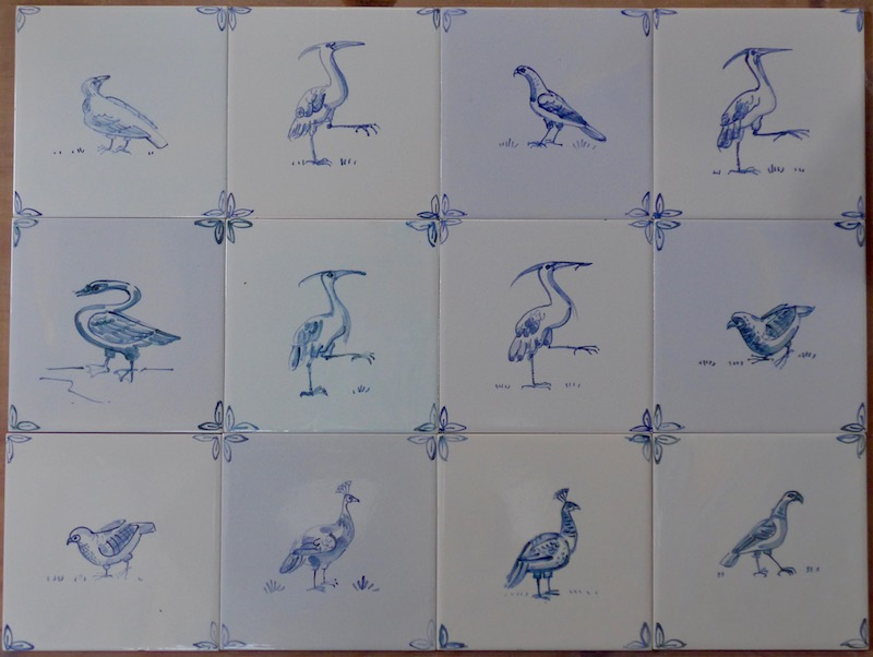 """Traditional blue and white on 6"""" tiles"""